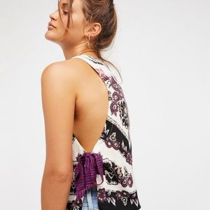 Free People This Sweet Love Floral Side Tie Tank S